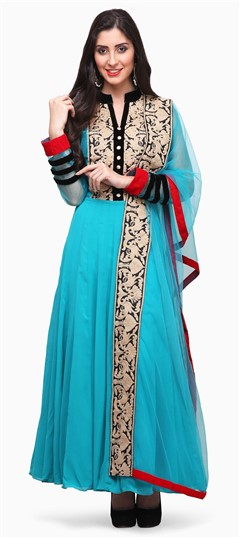 475381 Blue  color family Anarkali Suits in Faux Georgette fabric with Machine Embroidery, Stone, Thread work .