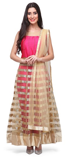 475384 Gold, Pink and Majenta  color family Anarkali Suits in Net, Raw Dupion Silk fabric with Lace, Thread work .