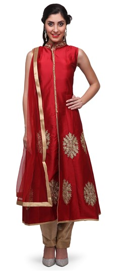 475394 Red and Maroon  color family Anarkali Suits in Art Dupion Silk fabric with Lace, Machine Embroidery, Stone, Thread, Zari work .