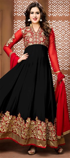 475470 Black and Grey,Red and Maroon  color family Anarkali Suits in Faux Georgette fabric with Border,Machine Embroidery,Thread,Zari work .