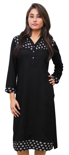 475507 Black and Grey  color family Printed Kurtis in Rayon fabric with Printed work .
