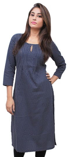 475508 Blue  color family Printed Kurtis in Rayon fabric with Printed work .