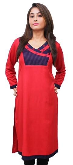 475510 Red and Maroon  color family Kurti in Rayon fabric with Thread work .