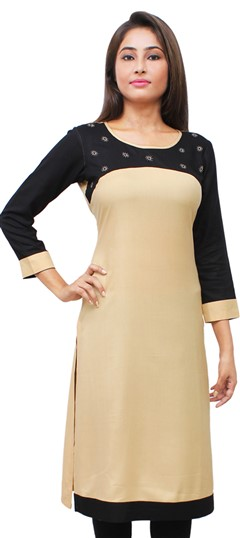 475511 Beige and Brown, Black and Grey  color family Kurti in Rayon fabric with Thread work .