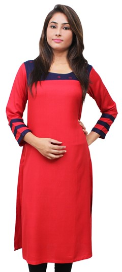 475513 Blue, Red and Maroon  color family Kurti in Rayon fabric with Thread work .