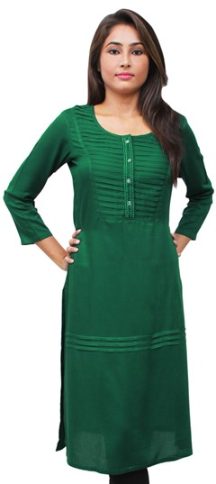 475517 Green  color family Kurti in Rayon fabric with Thread work .