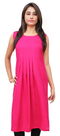 475521 Pink and Majenta  color family Kurti in Rayon fabric with Thread work .