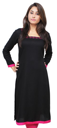 475522 Black and Grey  color family Kurti in Rayon fabric with Thread work .