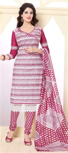 475801 Multicolor  color family Cotton Salwar Kameez, Printed Salwar Kameez in Cotton fabric with Lace, Printed work .