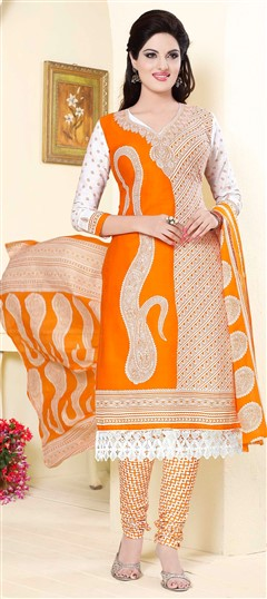 475803 Beige and Brown,Orange  color family Cotton Salwar Kameez,Printed Salwar Kameez in Cotton fabric with Lace,Printed work .