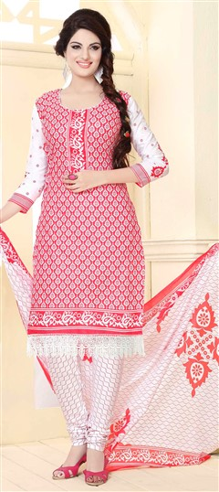 475810 Red and Maroon  color family Cotton Salwar Kameez,Printed Salwar Kameez in Cotton fabric with Lace,Printed work .