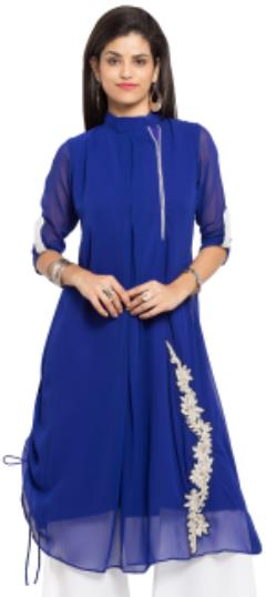 476018 Blue  color family Kurti in Faux Georgette fabric with Machine Embroidery, Stone, Thread work .