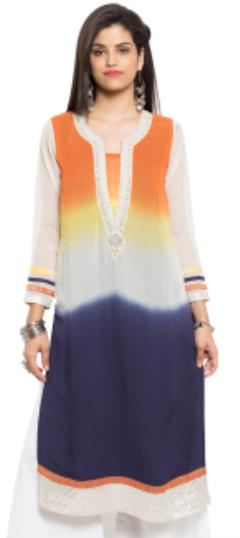 476020 Multicolor  color family Kurti in Faux Georgette fabric with Lace, Moti, Stone work .