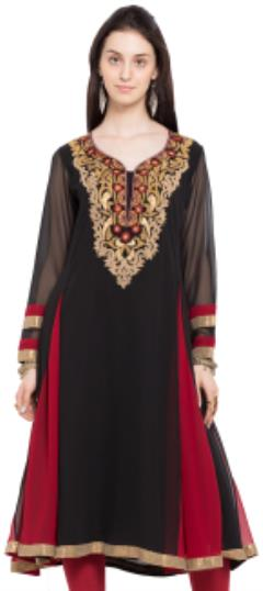 476021 Black and Grey, Red and Maroon  color family Anarkali style Kurtis in Faux Georgette fabric with Lace, Machine Embroidery, Thread work .