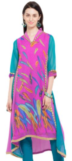 476023 Pink and Majenta  color family Kurti,Printed Kurtis in Faux Georgette fabric with Lace,Printed work .