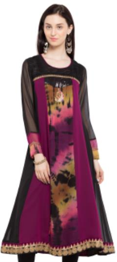 476028 Multicolor  color family Kurti in Faux Georgette fabric with Lace, Machine Embroidery, Sequence, Zardozi work .