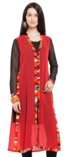 476029 Red and Maroon  color family Kurti in Faux Georgette fabric with Lace work .