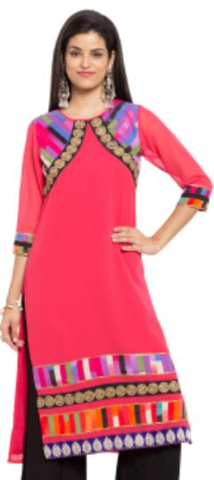 476030 Pink and Majenta  color family Kurti in Faux Georgette fabric with Lace, Thread work .