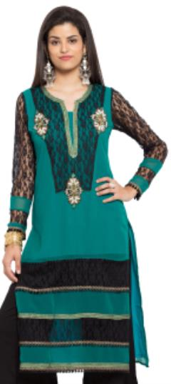 476031 Green  color family Kurti in Faux Georgette fabric with Lace, Moti, Patch work .