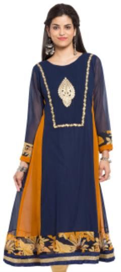 476034 Blue  color family Anarkali style Kurtis in Faux Georgette fabric with Lace, Machine Embroidery, Patch work .