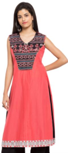 476037 Red and Maroon  color family Kurti in Cotton fabric with Lace, Machine Embroidery, Thread work .