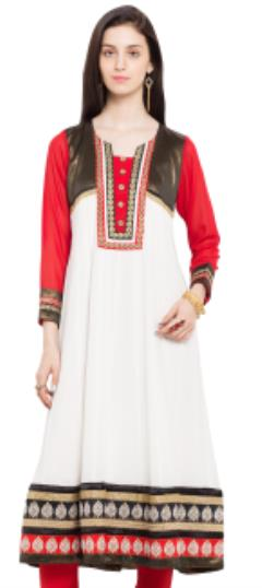 476040 White and Off White  color family Anarkali style Kurtis in Faux Georgette fabric with Lace,Machine Embroidery,Thread work .