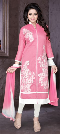 476289 Pink and Majenta  color family Party Wear Salwar Kameez in Chanderi fabric with Lace, Machine Embroidery, Thread work .
