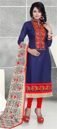476290 Blue  color family Party Wear Salwar Kameez in Cotton fabric with Lace, Machine Embroidery, Thread work .