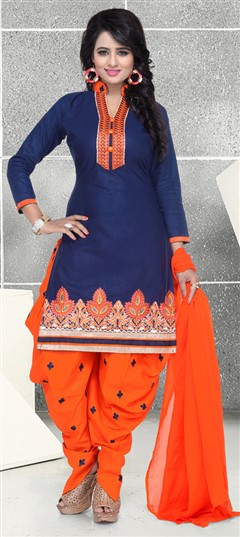 476294 Blue  color family Cotton Salwar Kameez in Cotton fabric with Lace,Machine Embroidery,Thread work .