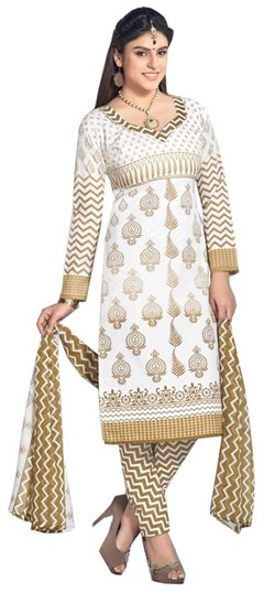 476364 Beige and Brown, White and Off White  color family Cotton Salwar Kameez, Printed Salwar Kameez in Cotton fabric with Printed work .