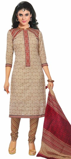 476368 Beige and Brown  color family Cotton Salwar Kameez, Printed Salwar Kameez in Cotton fabric with Printed work .