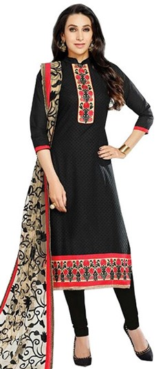 476373 Black and Grey  color family Bollywood Salwar Kameez in Cotton fabric with Lace, Machine Embroidery, Resham, Thread work .
