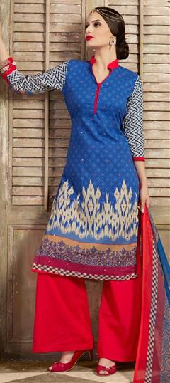477111 Blue  color family Cotton Salwar Kameez, Printed Salwar Kameez in Cotton fabric with Mirror, Printed, Resham work .