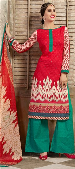 477112 Red and Maroon  color family Cotton Salwar Kameez, Printed Salwar Kameez in Cotton fabric with Mirror, Printed, Resham work .