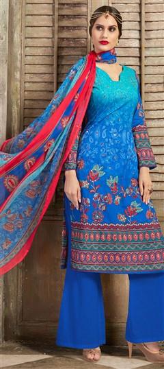 477113 Blue  color family Cotton Salwar Kameez, Printed Salwar Kameez in Cotton fabric with Mirror, Printed, Resham work .