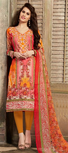 477116 Pink and Majenta, Yellow  color family Cotton Salwar Kameez, Printed Salwar Kameez in Cotton fabric with Mirror, Printed, Resham work .