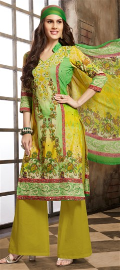 477117 Green, Yellow  color family Cotton Salwar Kameez, Printed Salwar Kameez in Cotton fabric with Mirror, Printed, Resham work .