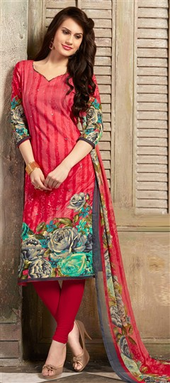 477119 Red and Maroon  color family Cotton Salwar Kameez, Printed Salwar Kameez in Cotton fabric with Floral, Mirror, Printed, Resham work .