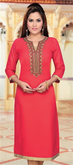 477386 Red and Maroon  color family Kurti in Georgette fabric with Machine Embroidery, Stone, Thread work .