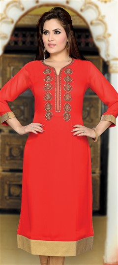 477388 Orange  color family Kurti in Georgette fabric with Machine Embroidery,Stone,Thread work .