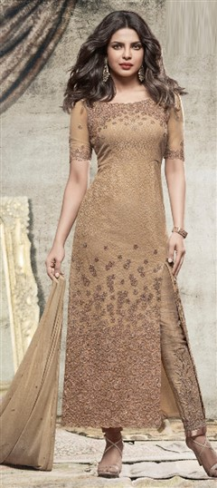 477623 Beige and Brown  color family Bollywood Salwar Kameez in Net fabric with Machine Embroidery,Thread work .