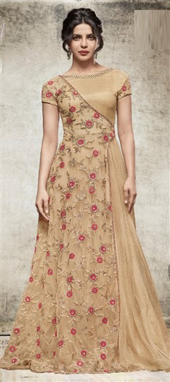 477627 Beige and Brown  color family Bollywood Salwar Kameez in Net fabric with Machine Embroidery,Stone,Thread work .