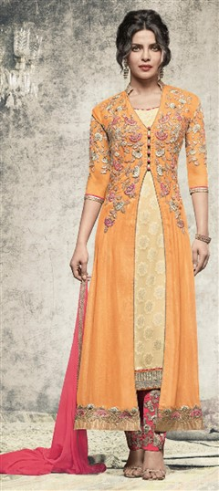 477629 Beige and Brown,Yellow  color family Bollywood Salwar Kameez in Faux Georgette fabric with Lace,Machine Embroidery,Thread work .