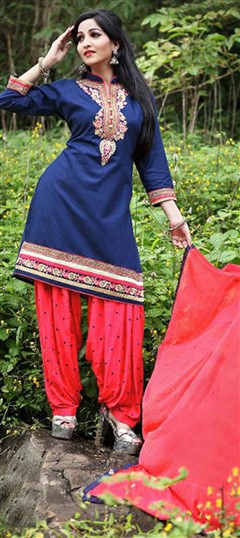 478027 Blue  color family Cotton Salwar Kameez in Cotton fabric with Lace, Machine Embroidery, Resham, Thread work .