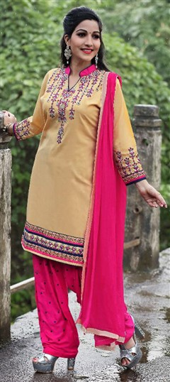 478031 Beige and Brown  color family Cotton Salwar Kameez in Cotton fabric with Lace, Machine Embroidery, Resham, Thread work .