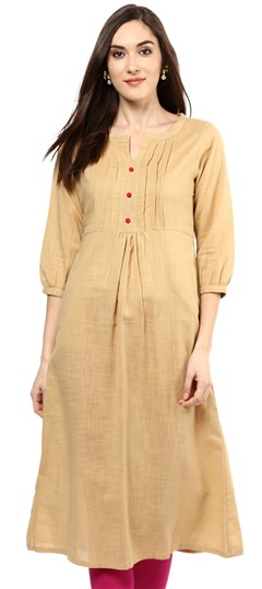 478444 Beige and Brown  color family Cotton Kurtis in Cotton fabric with Thread work .
