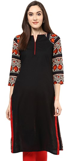 478454 Black and Grey  color family Cotton Kurtis, Printed Kurtis in Cotton fabric with Printed work .