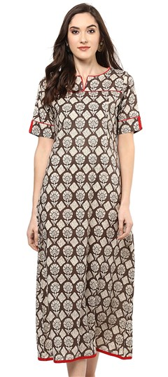 478455 Beige and Brown  color family Cotton Kurtis, Printed Kurtis in Cotton fabric with Printed work .