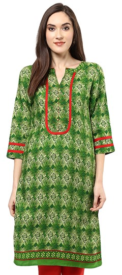 478457 Green  color family Cotton Kurtis,Printed Kurtis in Rayon fabric with Printed work .