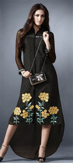 478483 Black and Grey  color family Kurti in Faux Georgette fabric with Machine Embroidery,Resham,Thread work .